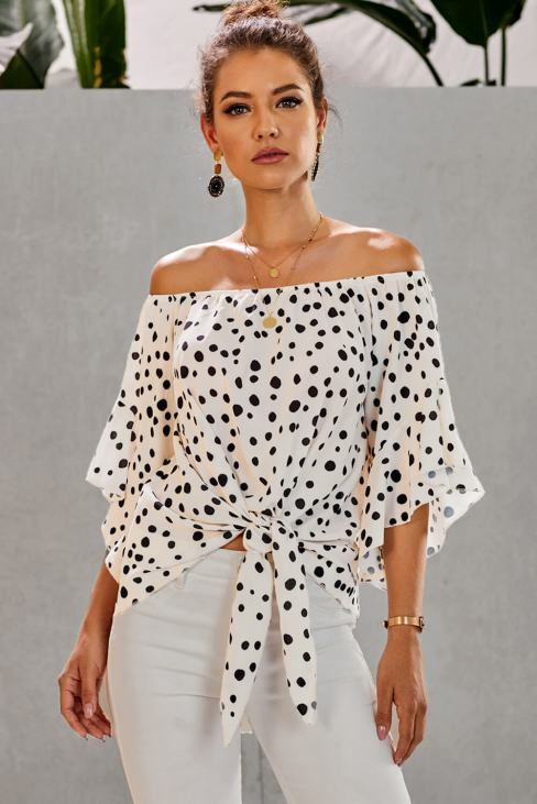 Tana Women's Off Shoulder Bell Sleeve Shirt Tie Knot Casual Blouses Tops White