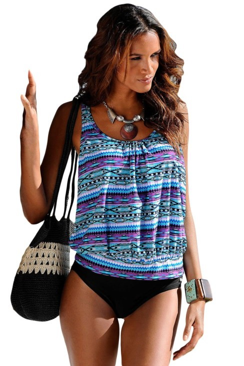 Roller Women's Printed Beach Two Pieces Loose Tankini Swimsuit Blue