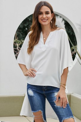 Gwendolyn Womens Solid V-Neck Bell Short Sleeve High Low Kimono Top White
