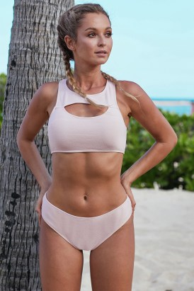 Coren Hollow-out Bust Crop Tank Bikini Swimsuit Pink