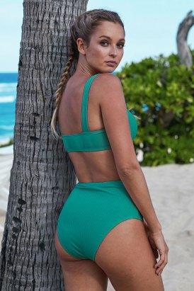 Devin Ribbed Knit Sports Bra High-waisted Bikini Swimwear Set Green