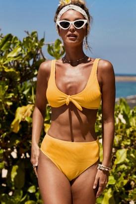 Willa Knot Center Tank Swim Top High Waist Panty Swimwear Yellow