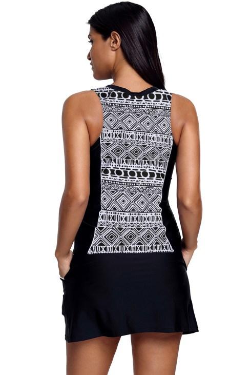 Jasmine Fuzzy Print Accent Skirtini Two-Piece Tankini Swimsuit Set