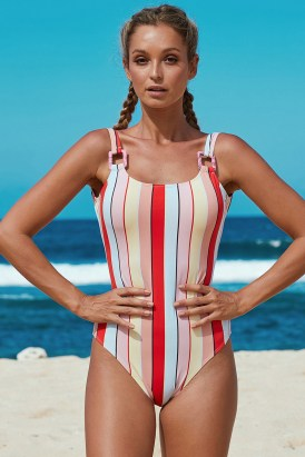 Joelle Stripes Open Back One Piece Bathing Suits Multicolor