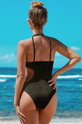 Marissa Cut Out Ribbed High Neck Halter One Piece Bathing Suit Black
