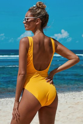 Quinn Scoop Neck Tie Waist Ribbed One-Piece Bathing Suit Yellow