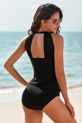 Amber Women High Neck Plunge Mesh Ruched Tankini Swimwear Black