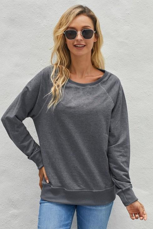Dariya Womens French Terry Cotton Blend Pullover Sweatshirt Black