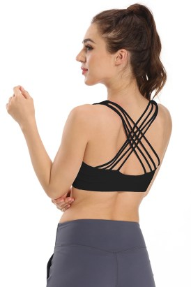Elyn Women Strappy Sports Bra Crisscross Back Yoga Bra Black