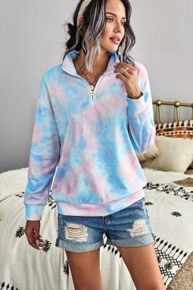 Eura Womens Cotton Tie Dye Mock Neck Zip Sweatshirt Sky Blue