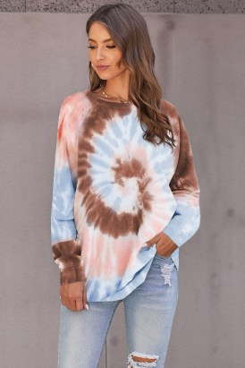 Evelin Women's Tie Dye Loose Leisure Sweatshirt Red Ombre