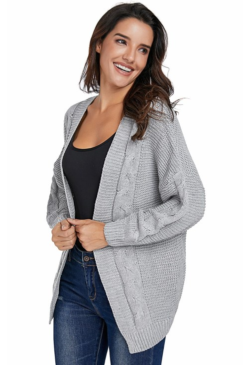 Darya Women's Chunky Wide Long Sleeve Knit Cardigan White