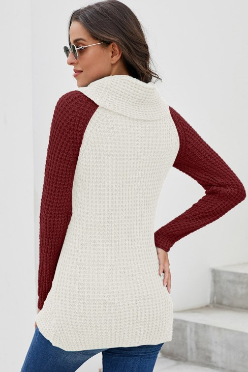 Lindsey Button Turtle Cowl Neck Asymmetric Hem Wrap Pullover Sweater Red