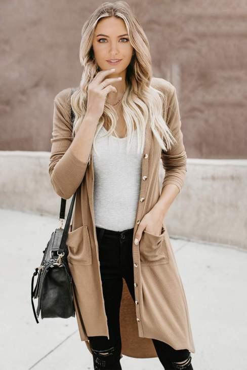 Eulalia Womens Long Sleeve Button Down High Low Long Knit Cardigan Black