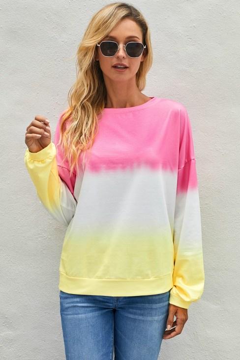Tarian Women's Color-Block Tie Dye Long Sleeve Pullover Sweatshirt Black