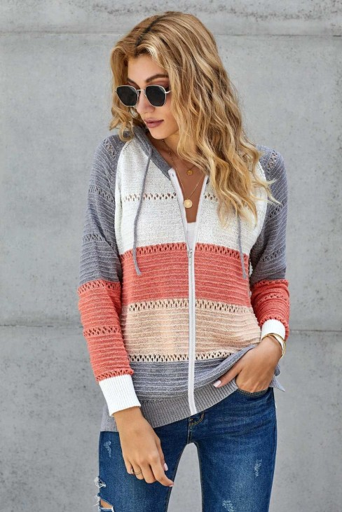 Lovett Womens Zipped Front Colorblock Hollow-out Knit Hoodie Red