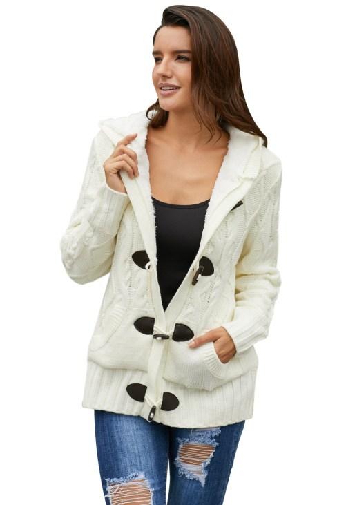 Rilke Women's Fur Hood Horn Button Sweater Cardigan White