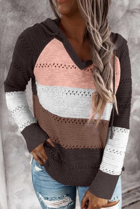 Zosime Women's Combo Block Knit Hoodie Black