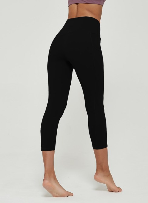 Coni Women's High Waisted Seamless Yoga Leggings with Side Pockets Black