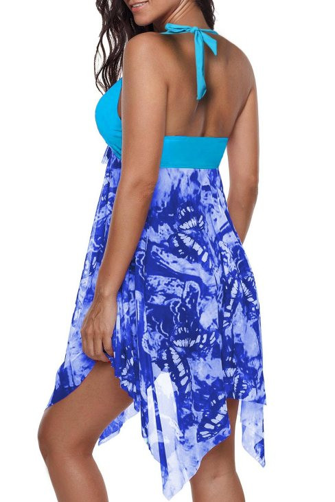 Adriana Women Handkerchief Hem Detail Swimdress and Shorts Sky Blue
