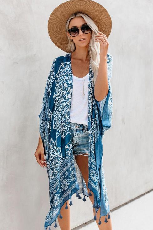 Carey Women's Anja Tassel Kimono Blue