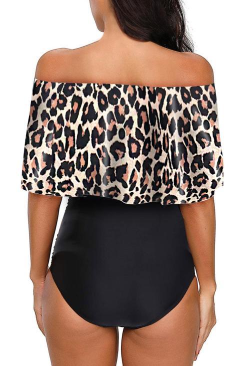 Caroline Women Printed Off Shoulder Flounce Overlay One-piece Swimwear Leopard