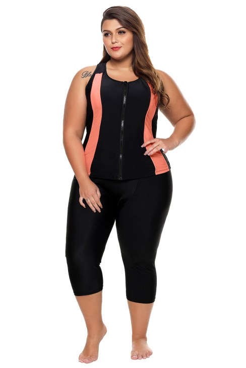Gwenda Womens Contrast Accent Black Zipped Women Wetsuit Orange