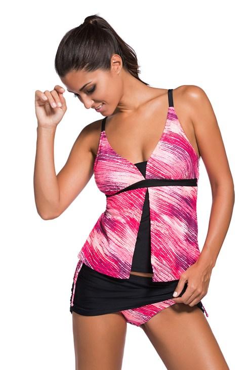 Hester Women Print Tankini Skort Bottom Swimsuit Pinkish