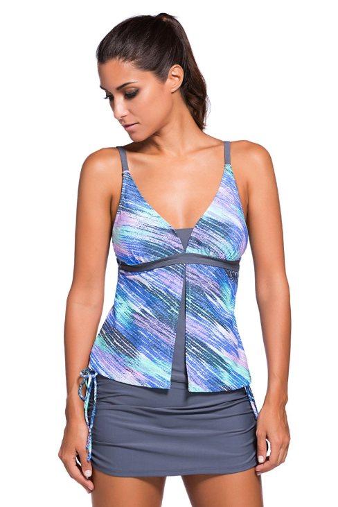 Hester Women Print Tankini Skort Bottom Swimsuit Bluish