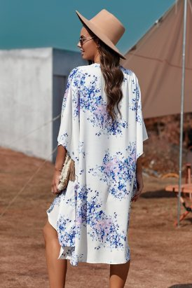 Irene Women Floral Kimono Sleeves Chiffon Loose Beach Cover Up White