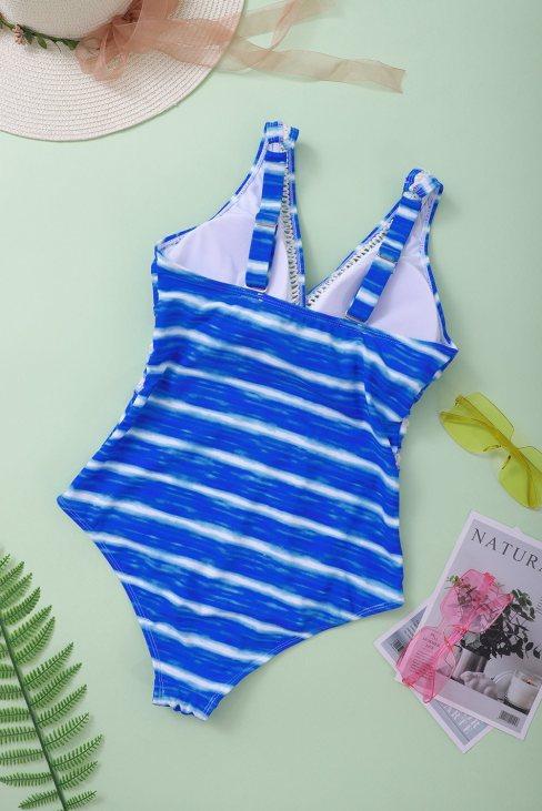 Janet Womens Blue Stripe Print Lattice Plunge One Piece Swimsuit
