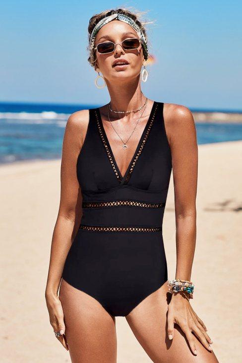 Janet Womens Lattice Plunge One Piece Swimsuit Black