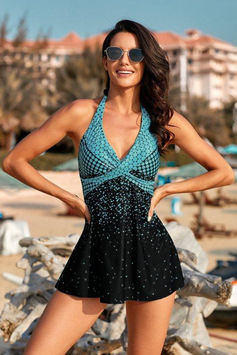 Michelle Women's Print Halterneck Tankini Set Turquoise Dot