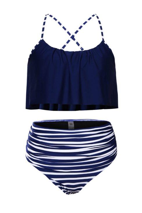 Queenie Women's Navy Top and Striped Bottom High Waist Swimwear