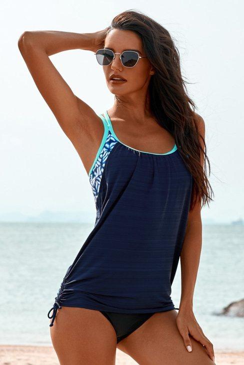 Eliane Womens Blue Printed Lined Tankini Swimsuit
