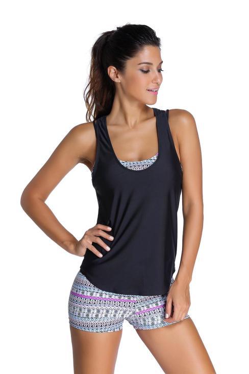 Emeline Womens Grayish Sports Bra Tankini Swimsuit with Black Vest