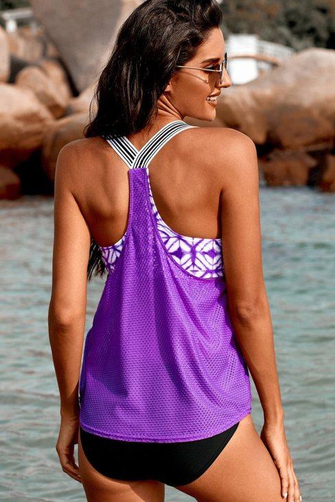 Charlize Women's Printed Splicing Racerback Tankini Purple