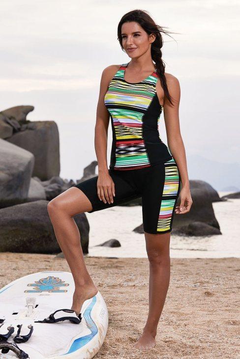 Leda Women Multicolor Striped Pattern Sleeveless Rashguard Swimsuit