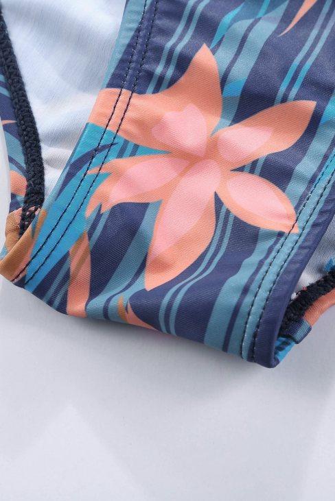 Natalie Women's Printed Sweetheart Monokini Blue