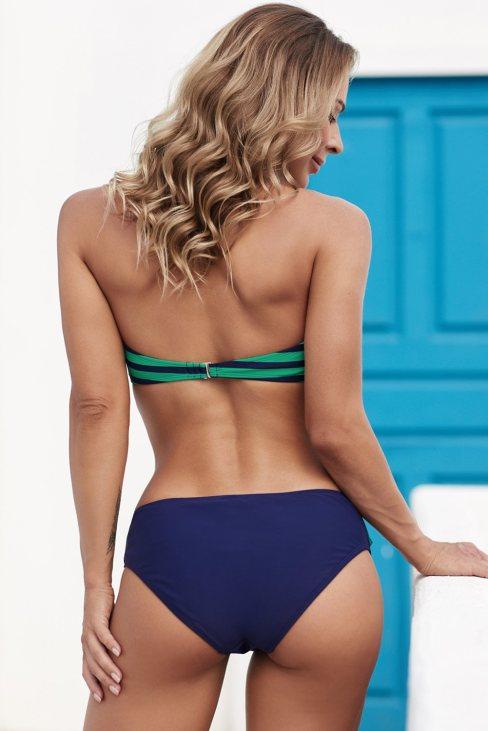 Olive Womens Halter Bandeau Striped Bikini Green
