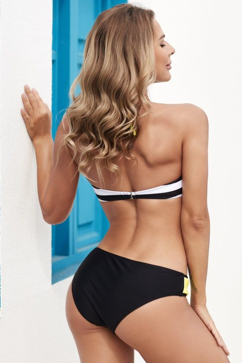 Olive Womens Halter Bandeau Striped Bikini Yellow
