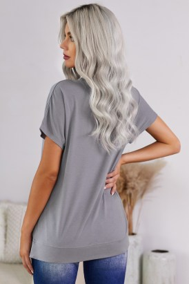 Adonia Women's Round Neck Short Sleeve Solid Color Tee Gray