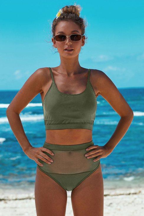 Amber Women's Two-piece Lace Mesh Patchwork Bikini Swimsuit Green