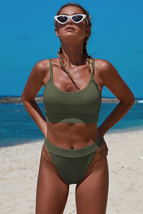 Lailah Women's Straps Two Piece Knit Textured Crop Bikini Swimsuit Green
