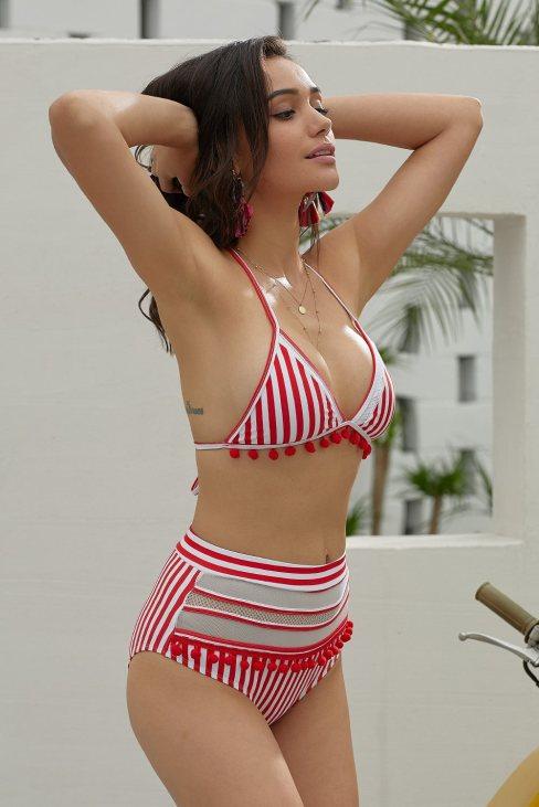 Lila Women's Red Pom Pom Mesh Insert High Waist Bikini