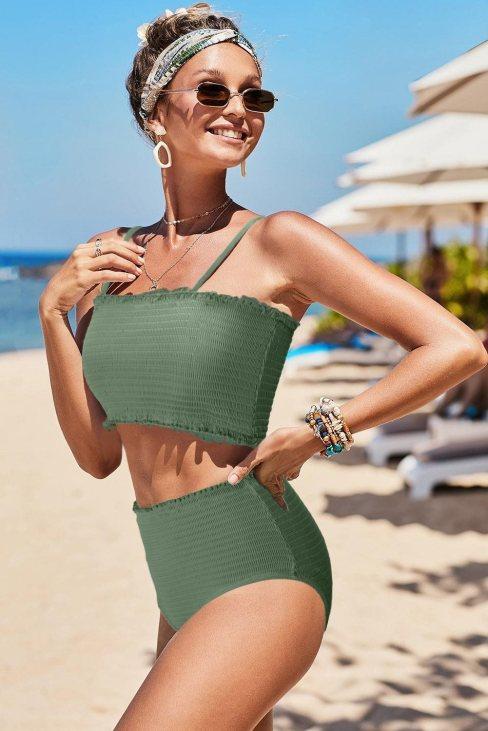 Maria Women Smock High Waist Bikini Green