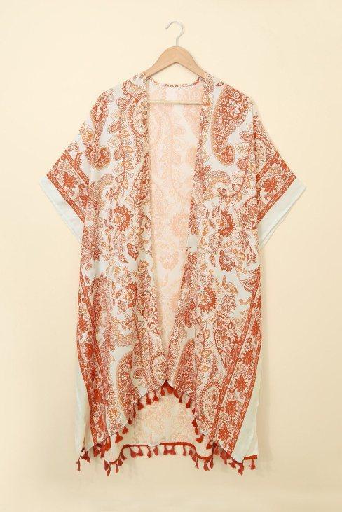 Sally Women Boho Paisley Print Kimono Beach Cover up with Tassel Orange