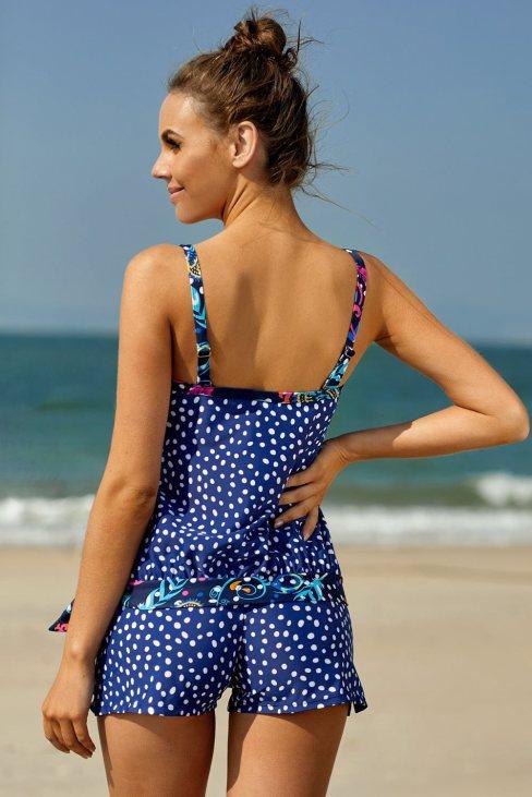 Sophia Women Dotted Print Tankini Swimwear Blue