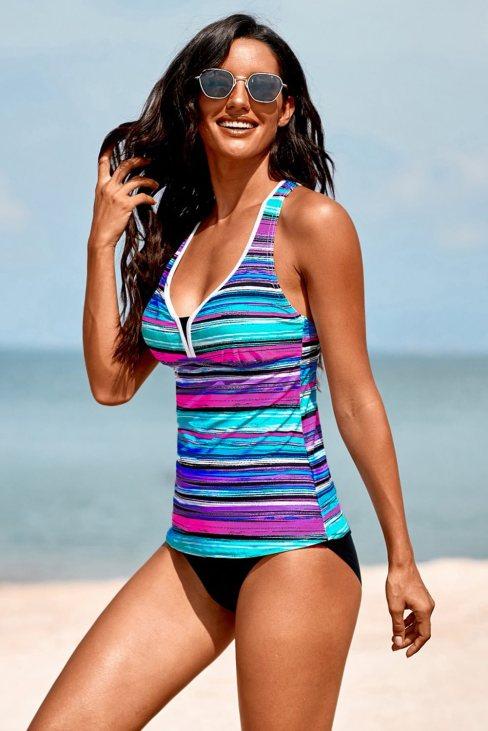 Stephanie Women Striped Tie-dye Racerback Tankini Swimsuit Sky Blue