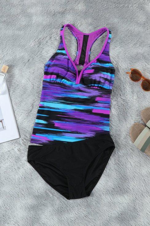 Stephanie Women Tie-dye Racerback Tankini Swimsuit Purple